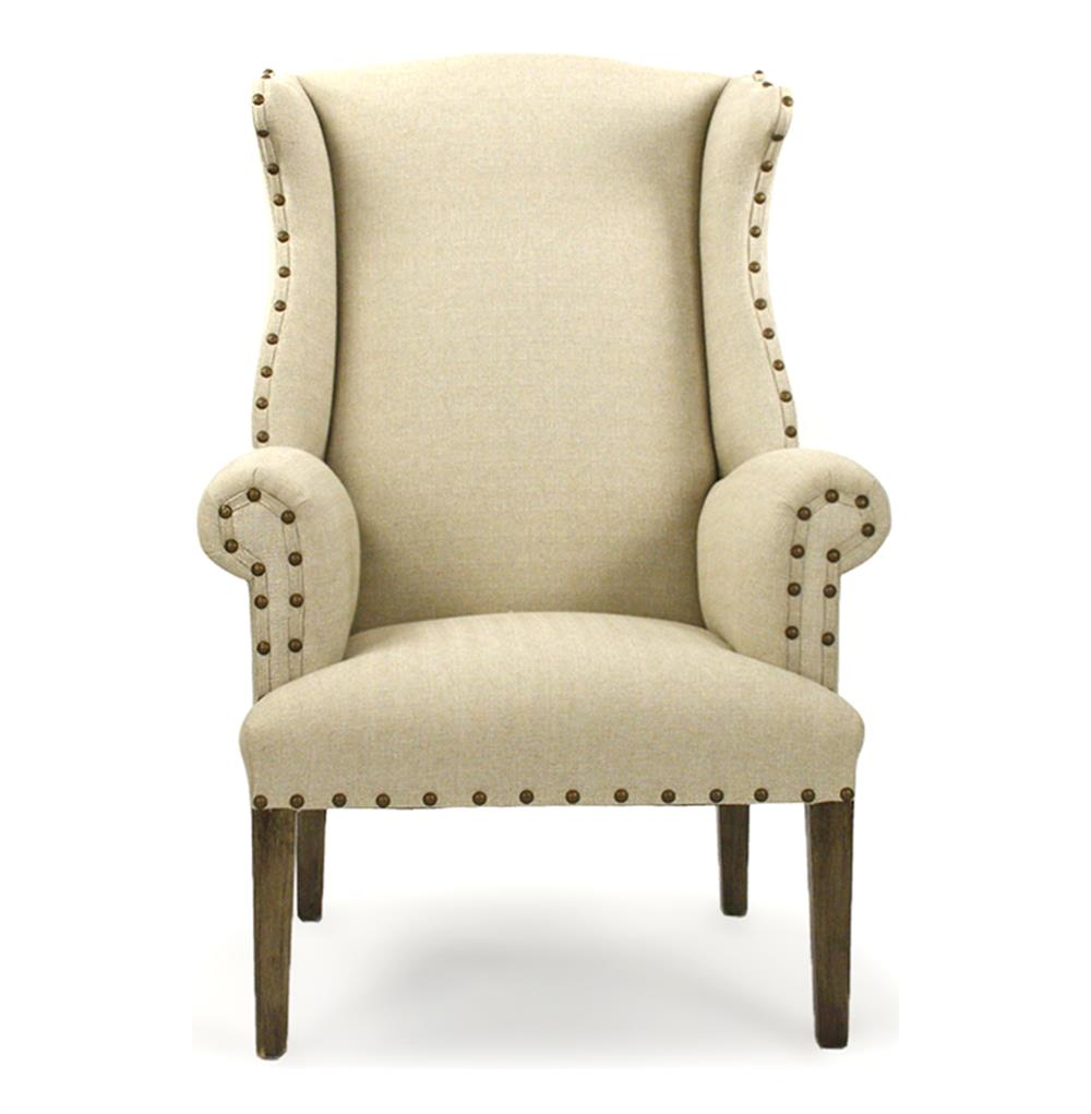 French Country Linen Nail Head Wing Back Accent Armchair