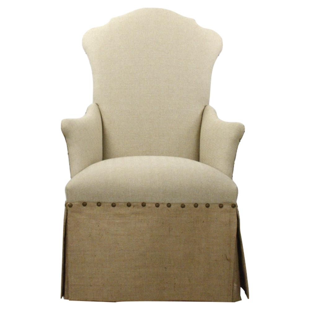 French Country Jute Linen Skirted Dining Arm Chair Kathy