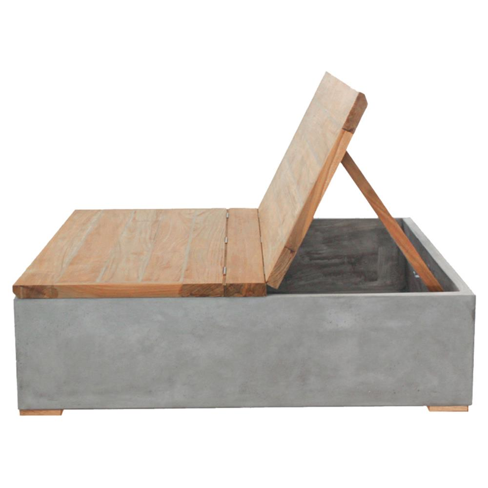 Ian Modern Square Wood Top Grey Concrete Base Outdoor
