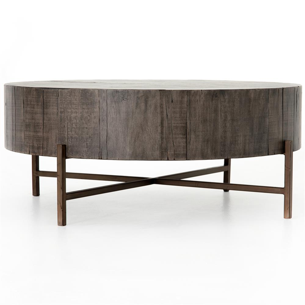 Distressed Round Coffee Tables: David Modern Copper Metal Leg Distressed Grey Round