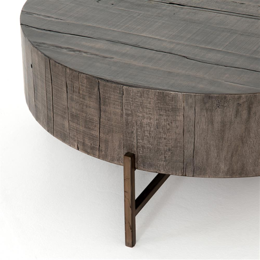 David Modern Copper Metal Leg Distressed Grey Round Hardwood Coffee Table Kathy Kuo Home
