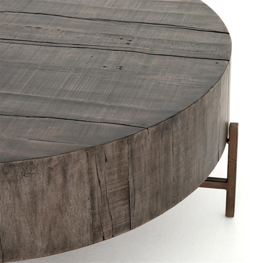 Modern Copper Coffee Table: David Modern Copper Metal Leg Distressed Grey Round