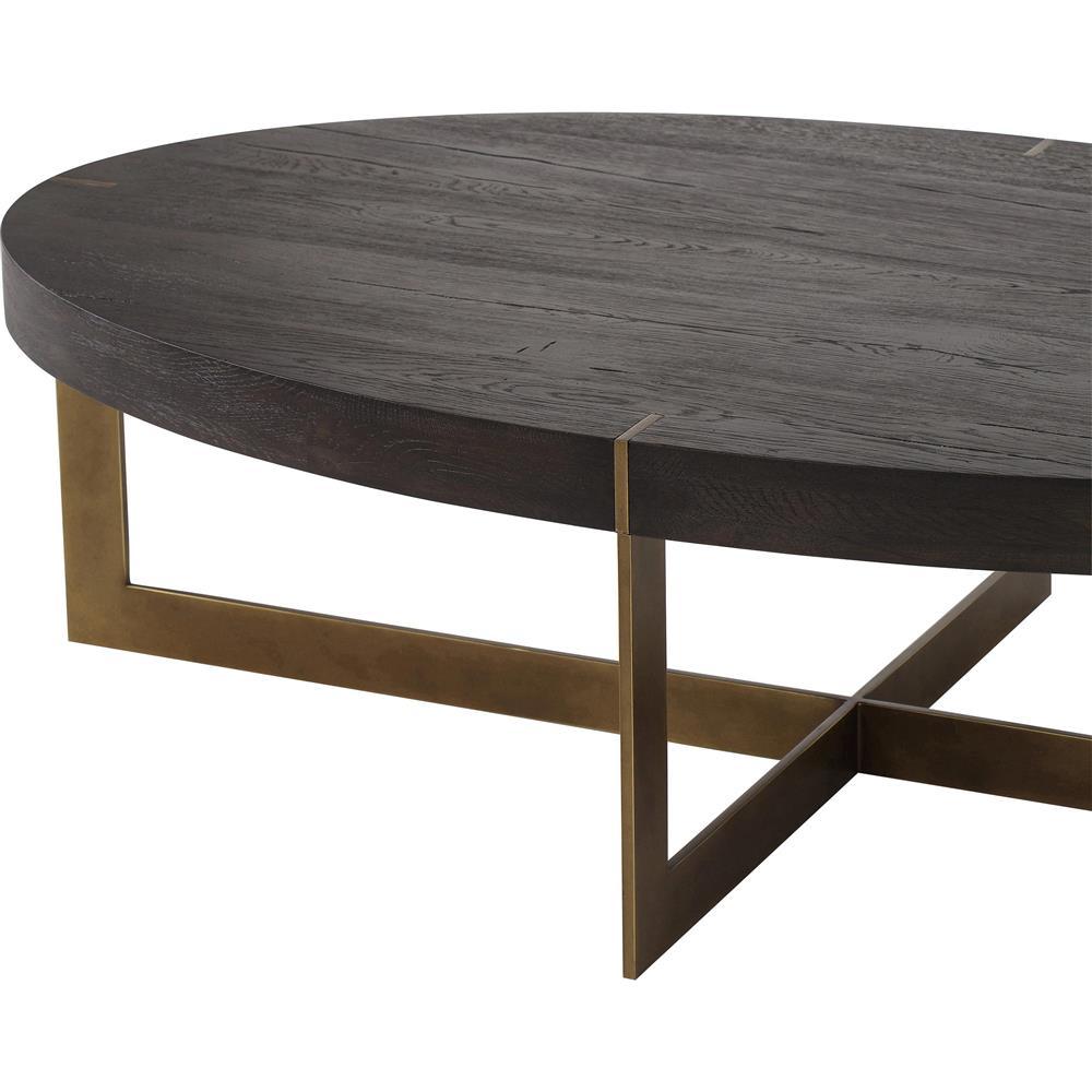 Large Oval Wood Coffee Table: Thomas Bina Bryan Modern Classic Oval Wood Top Gold Base