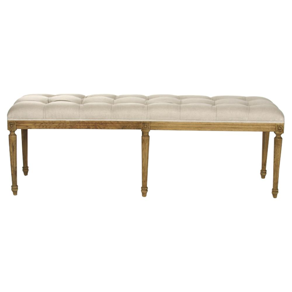 French Country Louis Xvi Linen Tufted Oak Long Bench