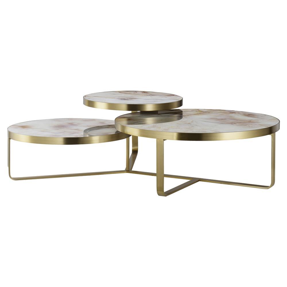 Maison 55 Rex Modern Classic Tan Glass Top Gold Metal