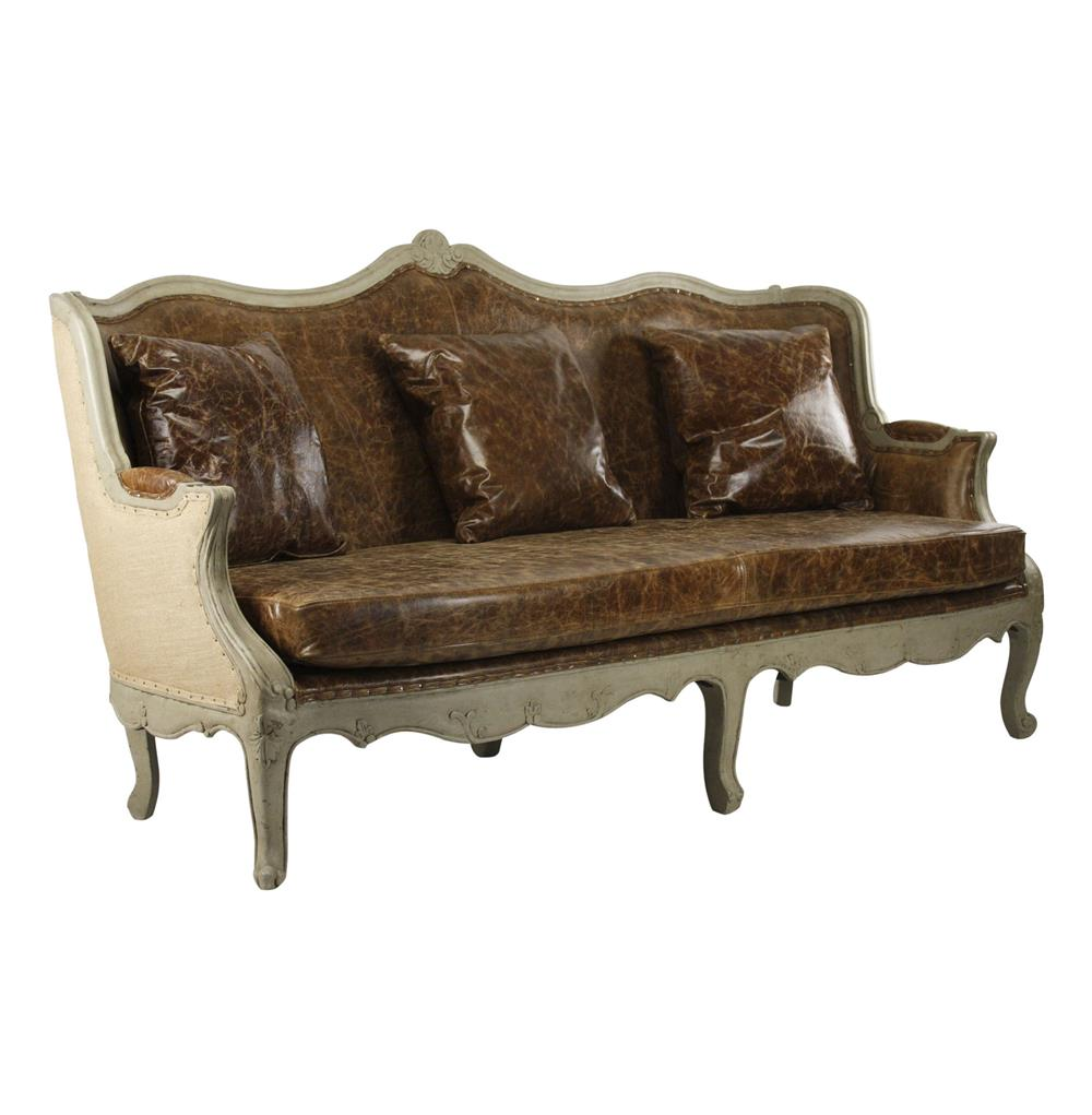 Country Leather Sofa: Adele French Country Top Grain Leather Burlap Barrel Back