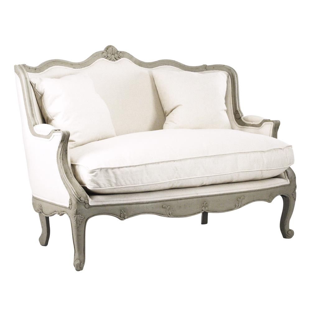 Adele french country distressed sage green and white for Small settee