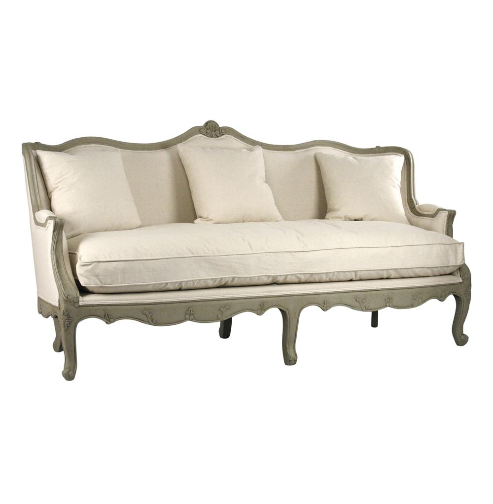 Adele french country distressed sage green and white sofa for French divan chair