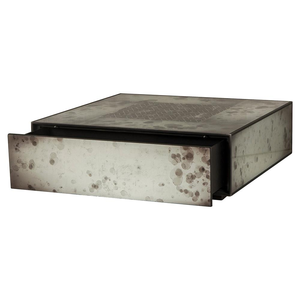 Glass And Silver Square Coffee Table: Maison 55 Mercury Rustic Lodge Square Silver Glass Wood