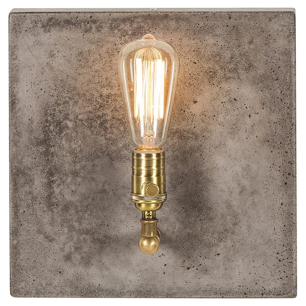 Nellcote Lia Modern Classic Aged Brass Grey Concrete ... on Aged Brass Wall Sconce id=98546
