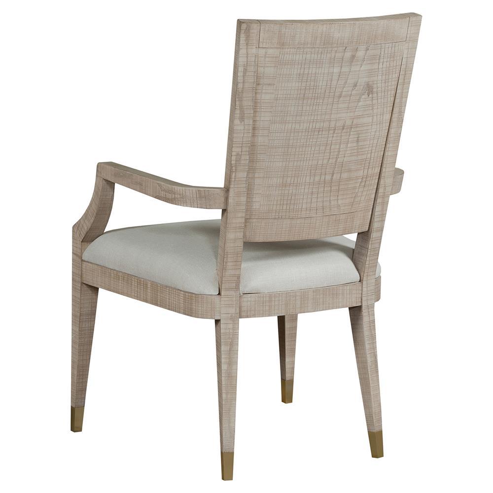 Maison 55 raffles modern classic ivory wood frame dining arm chair - Maison moderne diningchair ...
