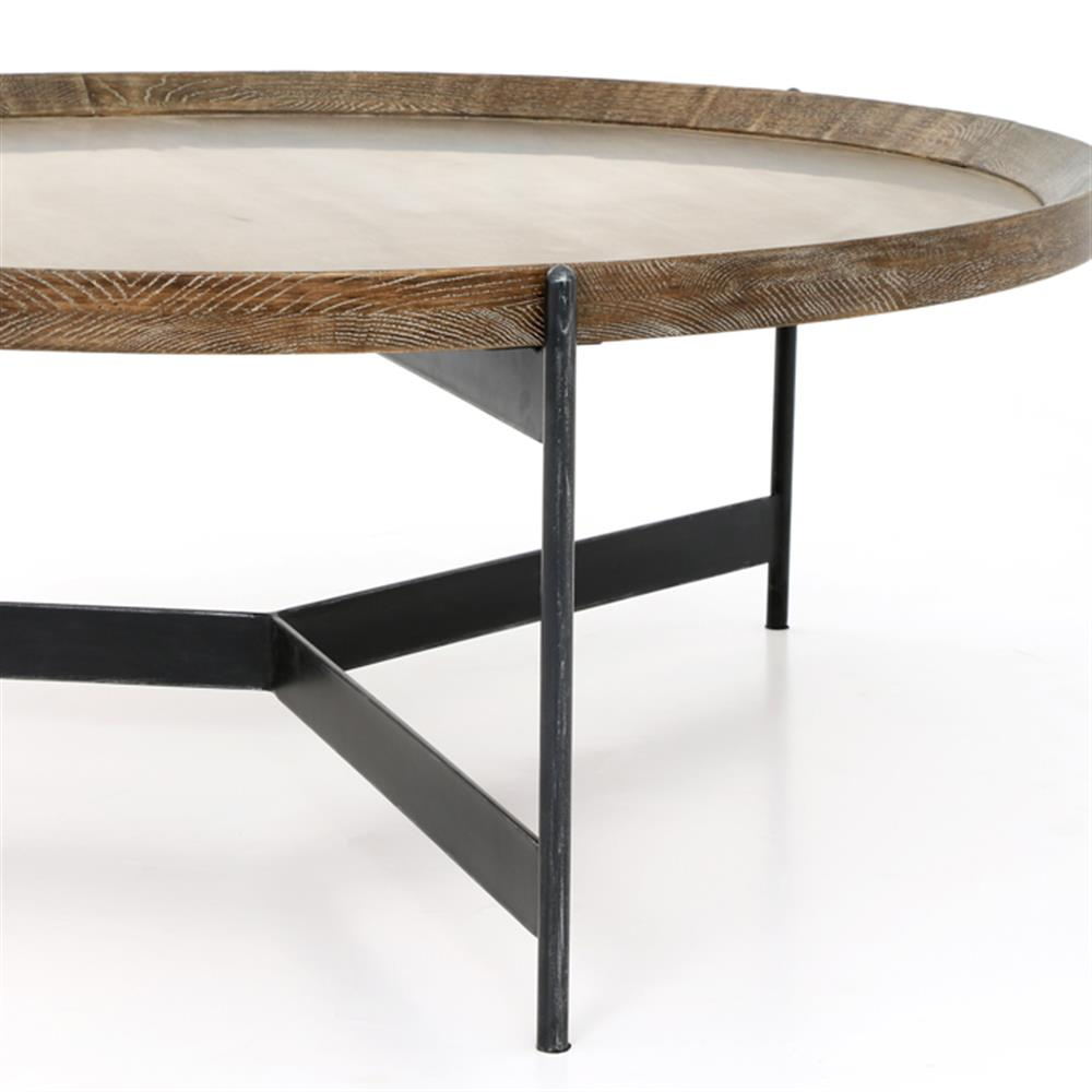 9a69c57330 ... Sebastian Modern Classic Iron Round Burnt Oak Tray Style Coffee Table    Kathy Kuo Home ...