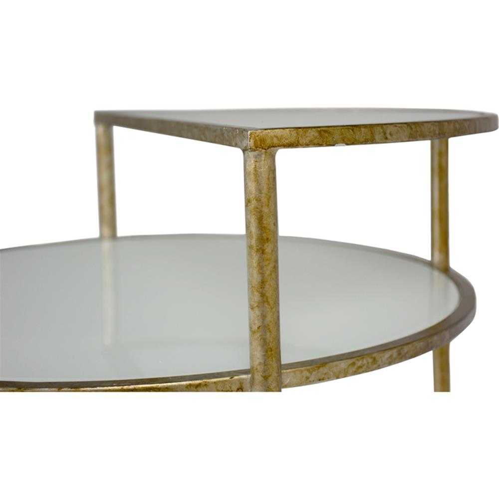 Lara Modern Clic White Gl Gold Metal Frame Two Tier Side Table Kathy Kuo Home