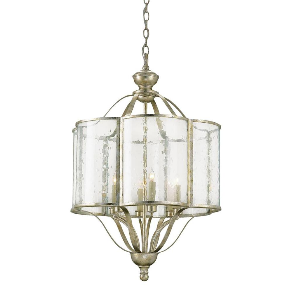 Levroux Seeded Glass Curved Silver 6 Light Pendant Lantern