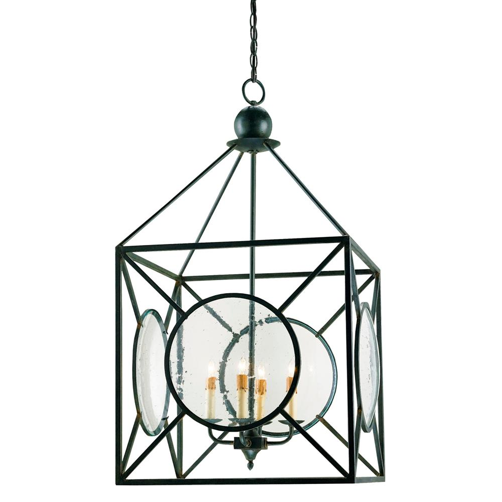 Beckmore Geometric Iron Seeded Glass 4 Light Lantern