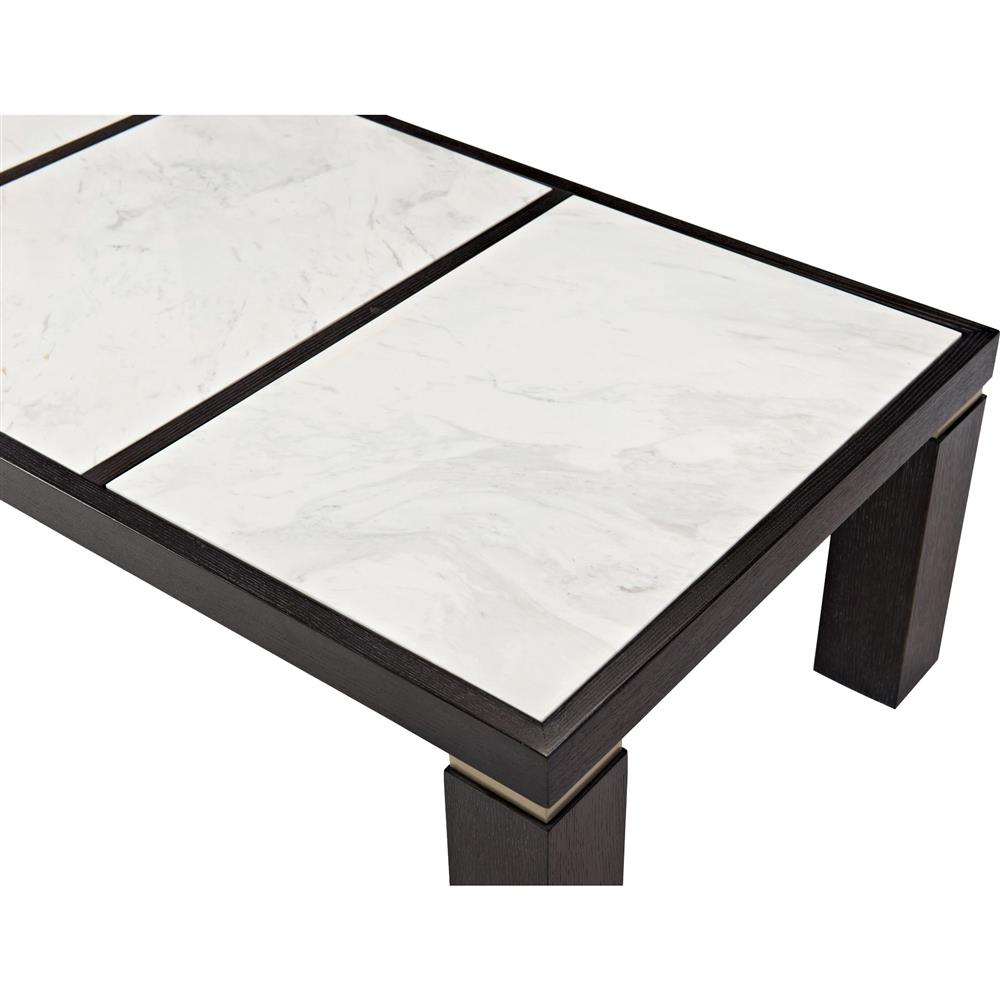 Dean Modern Masculine Rectangular Dark Oak White Coffee Table