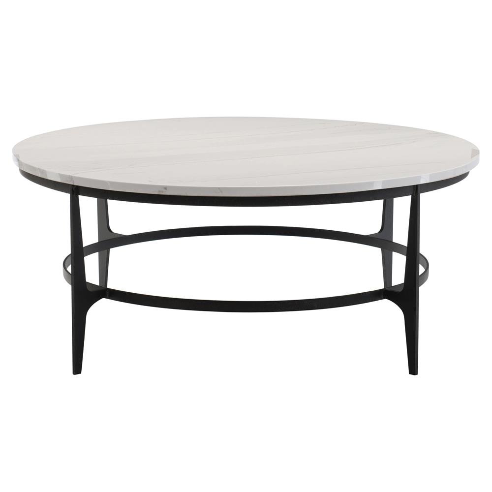 Faux White Marble Coffee Table Set: Cleo Modern Classic Round White Faux Marble Top Black