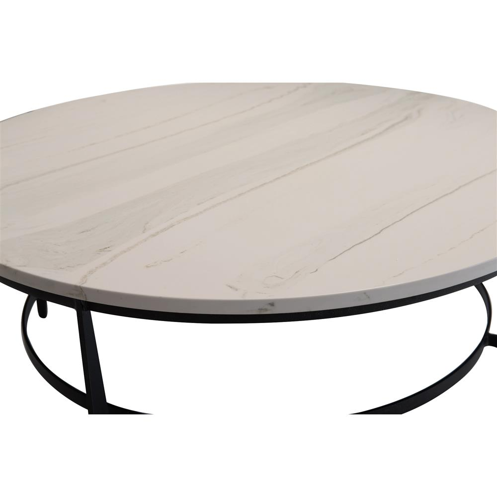 Marble Top Wire Coffee Table: Cleo Modern Classic Round White Faux Marble Top Black