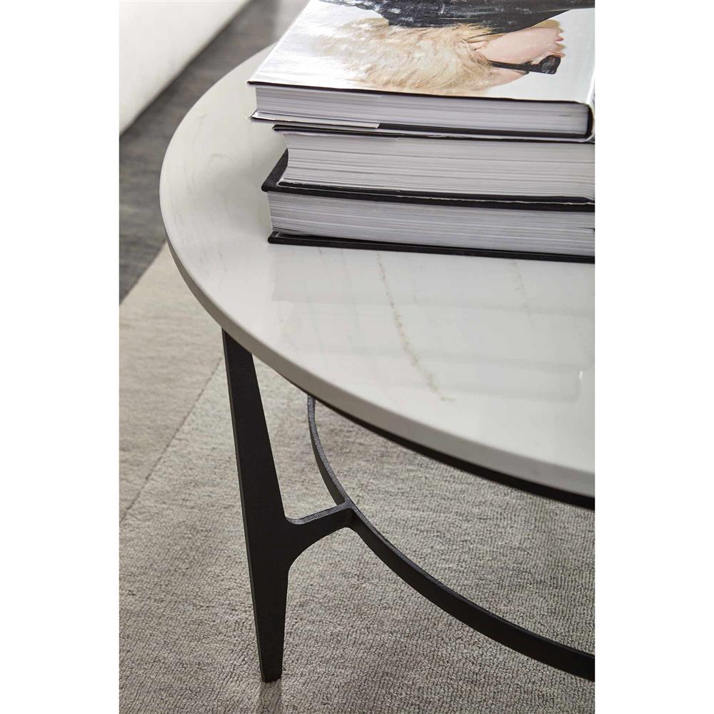 Best Faux Marble Coffee Table: Cleo Modern Classic Round White Faux Marble Top Black