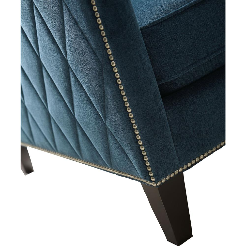 Amya modern classic blue upholstered living room arm chair - Modern upholstered living room chairs ...