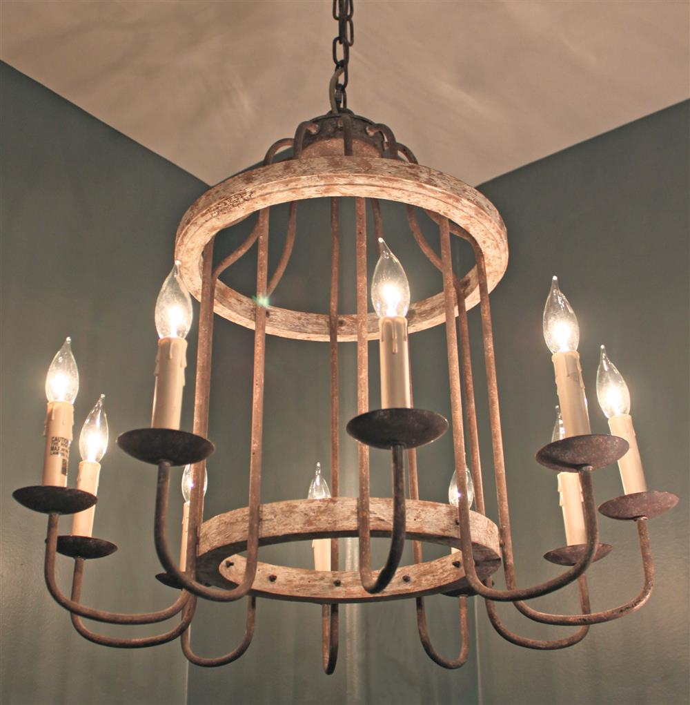Adele french cottage rustic chipped white rust 10 light for Country lighting fixtures for home