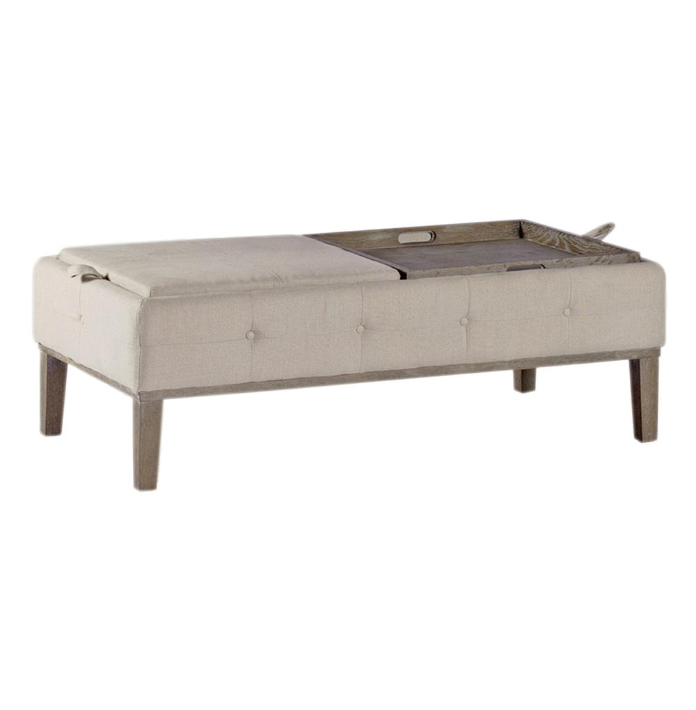 Mollie Linen Tufted Storage Tray Table Coffee Table Ottoman