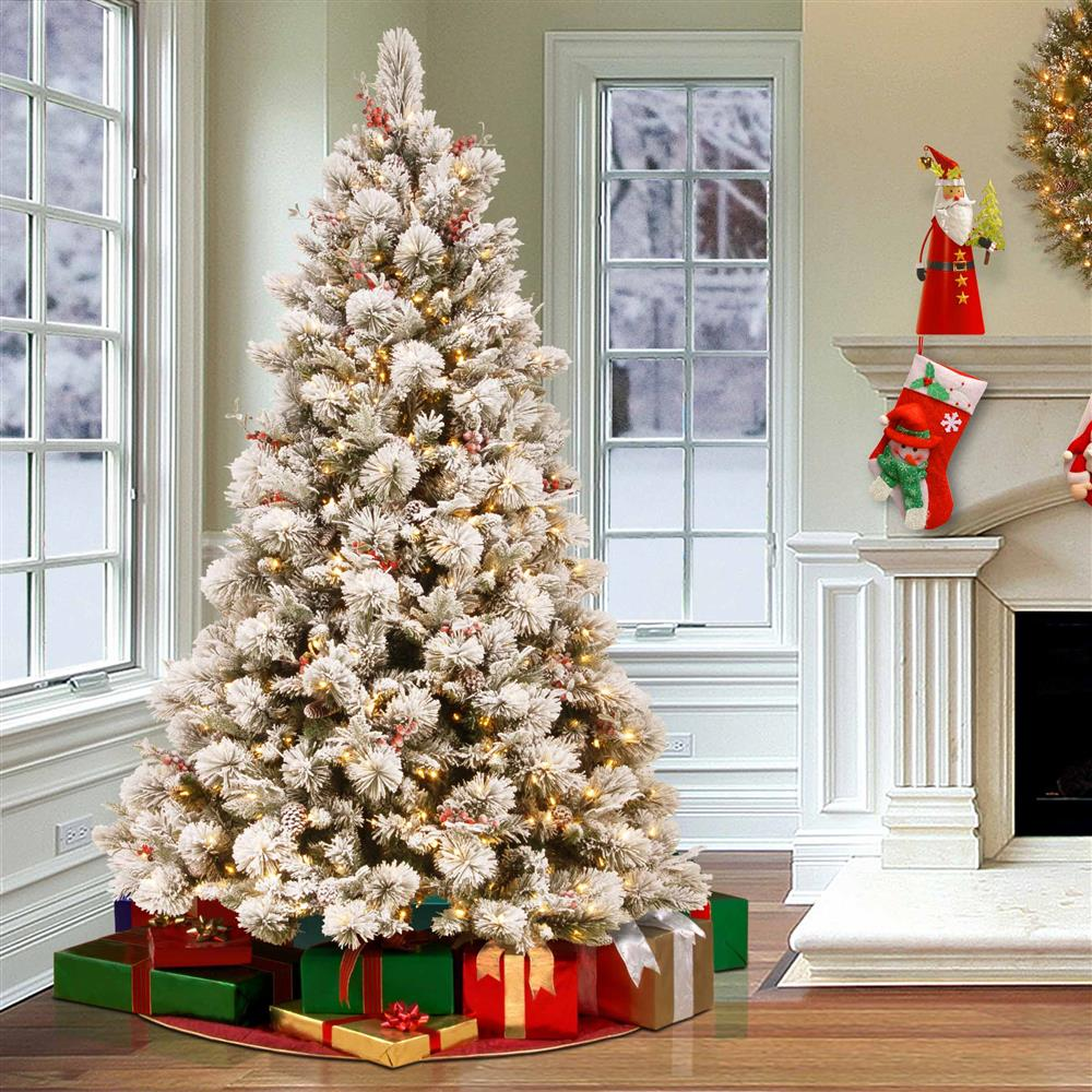 Berry Christmas Tree Lights: Jude 7.5ft Snowy Pine Christmas Tree With Clear Lights Red