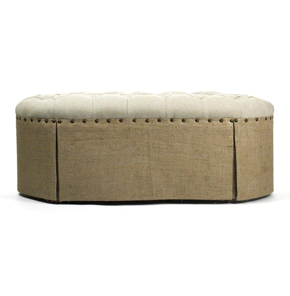 French Country Round Oval Tufted Linen Burlap Skirted Ottoman Kathy Kuo Home