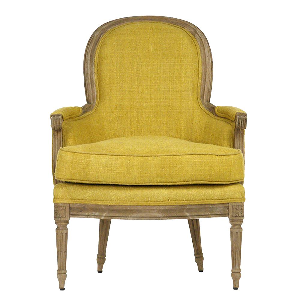 Emeze French Saffron Yellow Carved Wood Accent Bergere ...