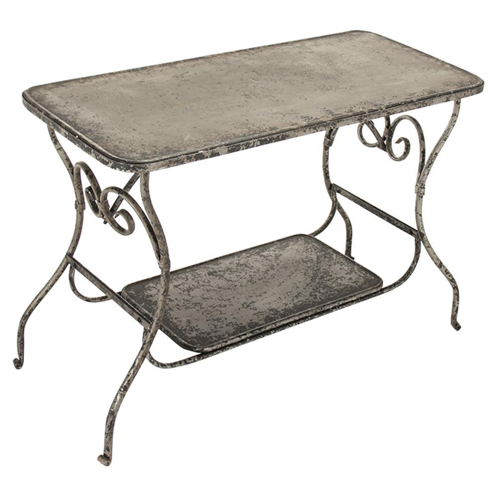 French Art Nouveau Style Iron Scroll Metal Desk