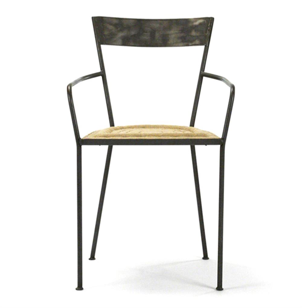 Klaas Industrial Modern Raw Steel Burlap Seat Dining Arm  : product38201 from www.kathykuohome.com size 1000 x 1021 jpeg 40kB