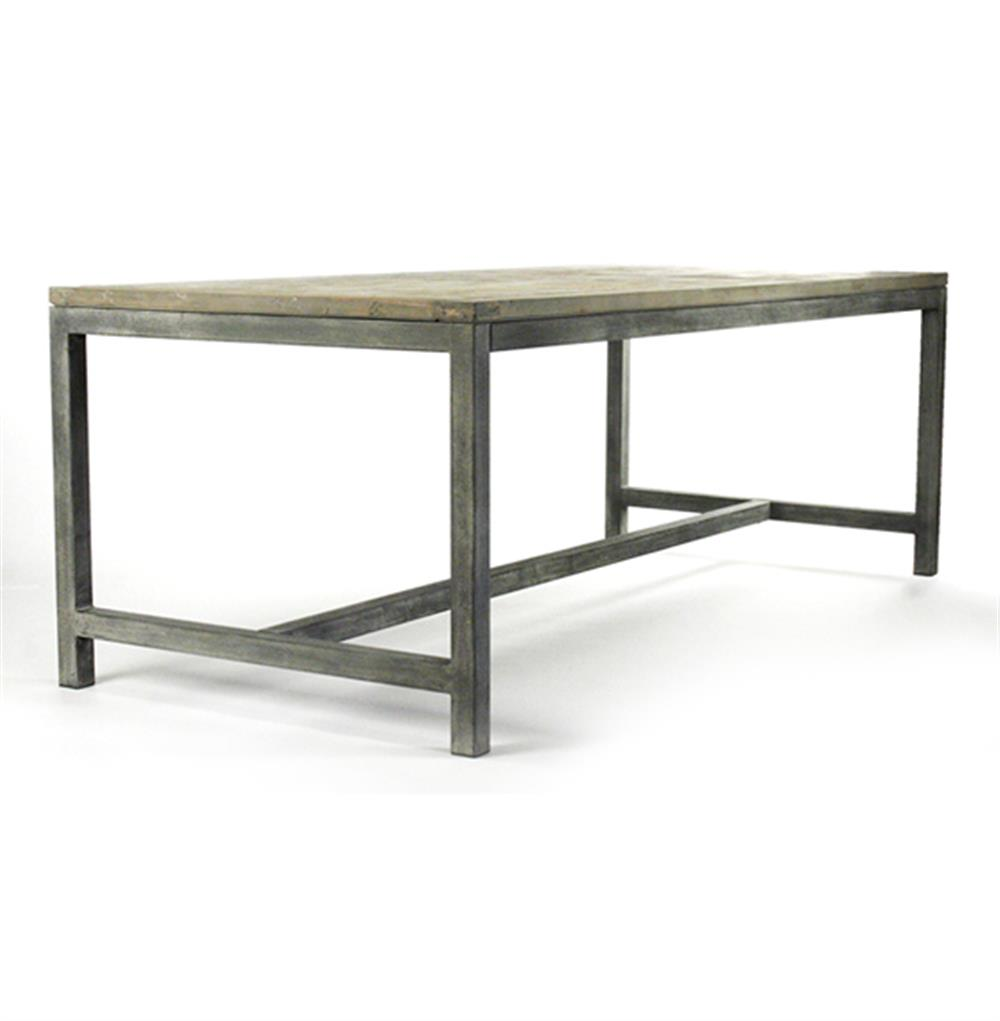 Abner industrial modern rustic bleached oak grey dining for Modern oak dining table