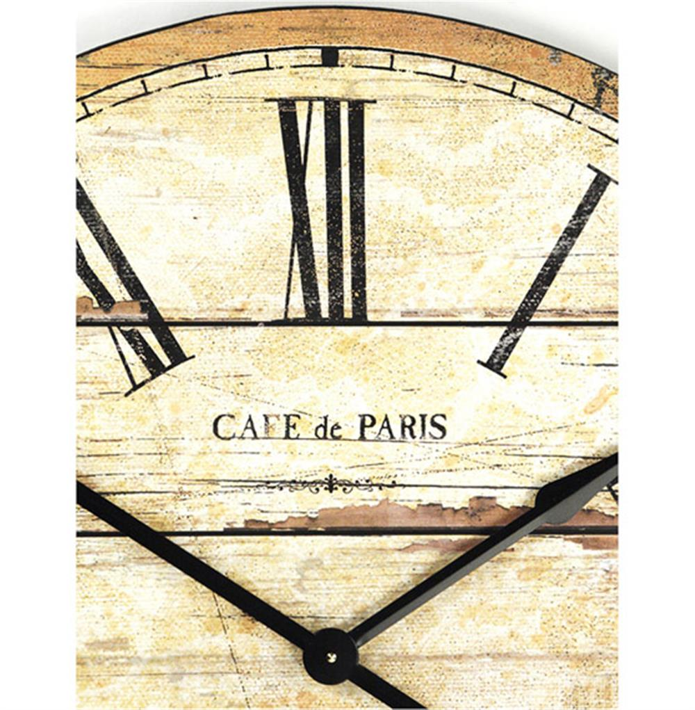 Cafe de paris rustic french cottage style old wood wall clock view full size amipublicfo Image collections