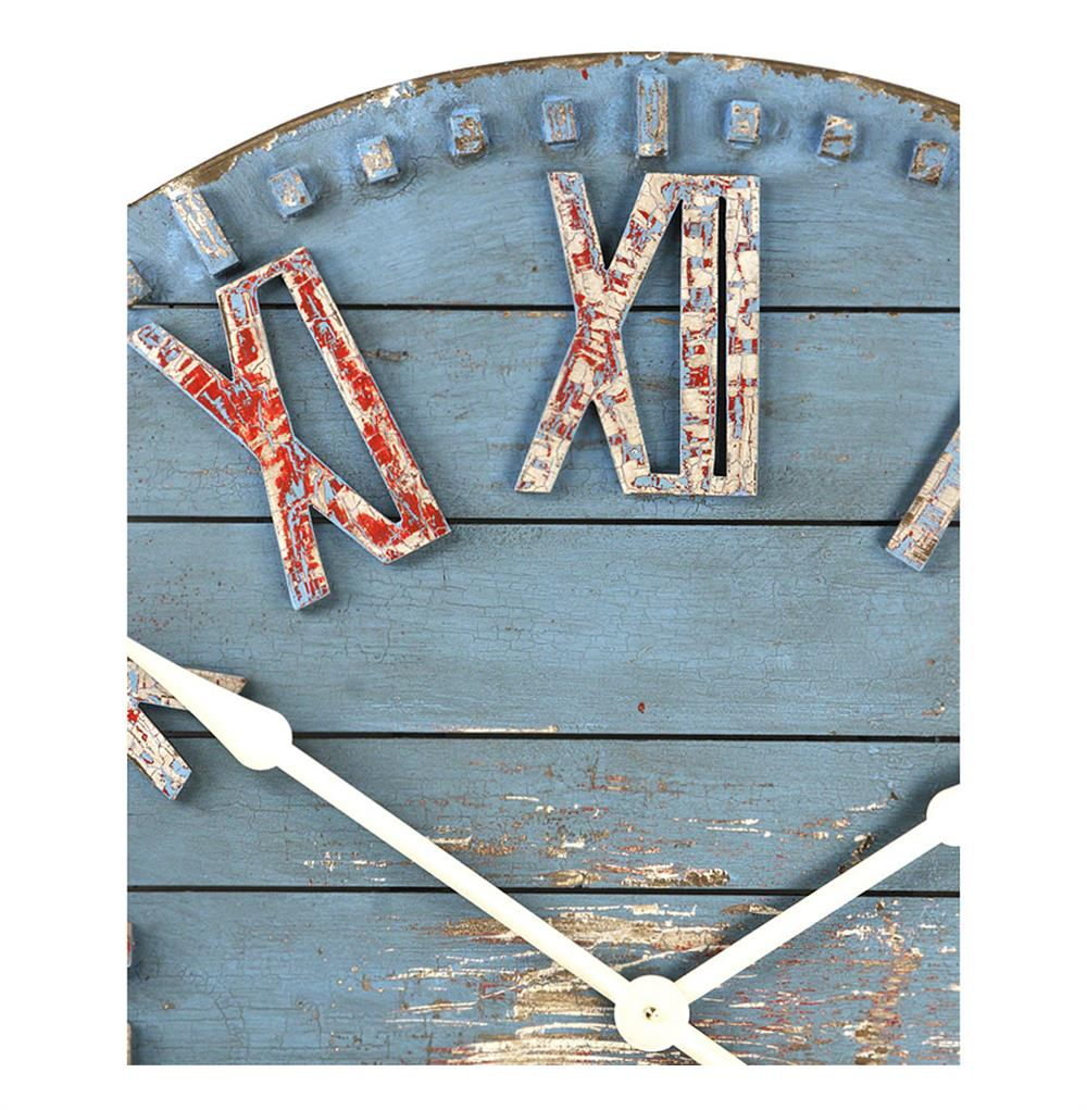 Rustic beach cottage blue hand painted wood metal wall clock view full size amipublicfo Image collections