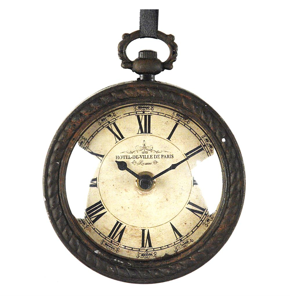 Pocket Watch Style Vintage French Rustic Ribbon Round Wall