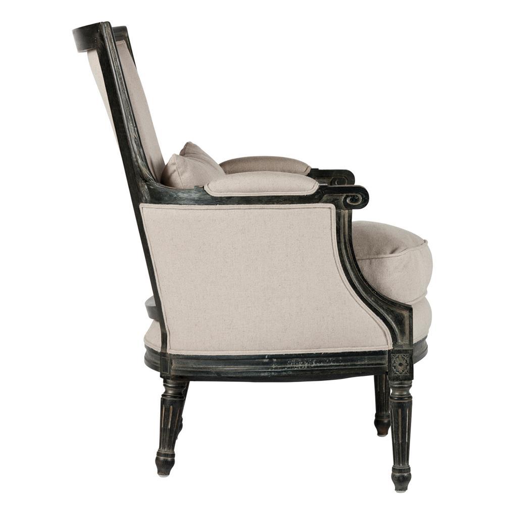 Antique Salon Chairs Isla Black Linen French