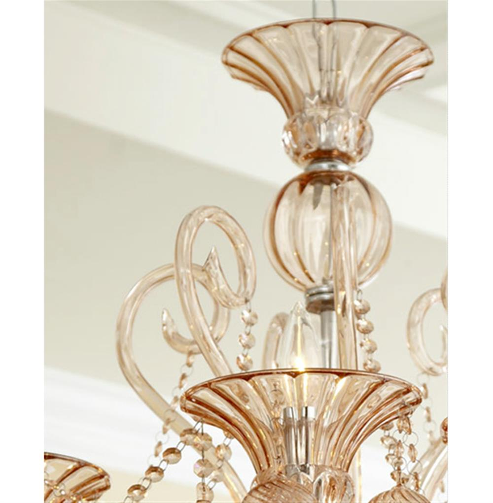 Bella vetro 6 light pale blush murano style glass chandelier full size aloadofball Choice Image