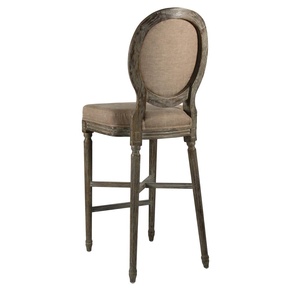 French Kitchen Stools: Medallion Oak French Country Bar Stool In Copper Linen