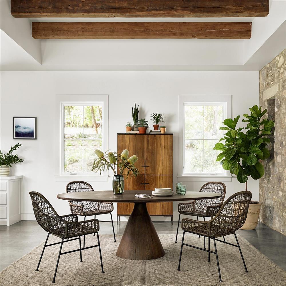 Dining Room Tables San Antonio: Antonio Modern Classic Nature Inspired Oval Top Wood