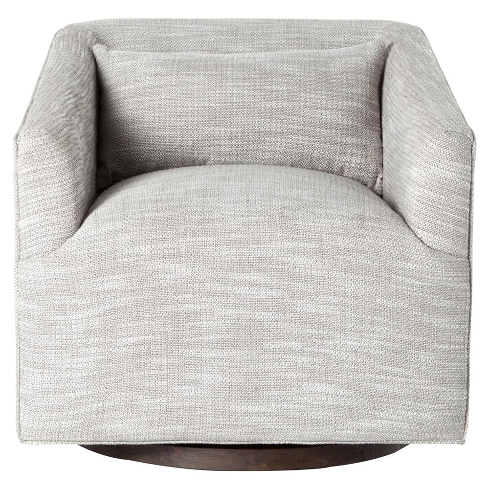 Daire modern grey upholstered square swivel living room chair - Modern upholstered living room chairs ...