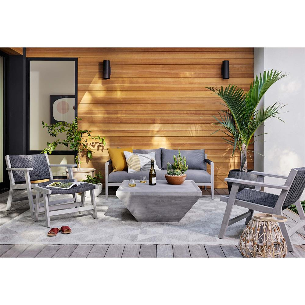 Tally Coastal Beach Weathered Grey Teak Recessed Square ...