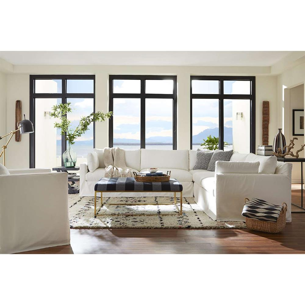 Cassius Modern Classic White Slipcovered 2 Piece Sectional Sofa