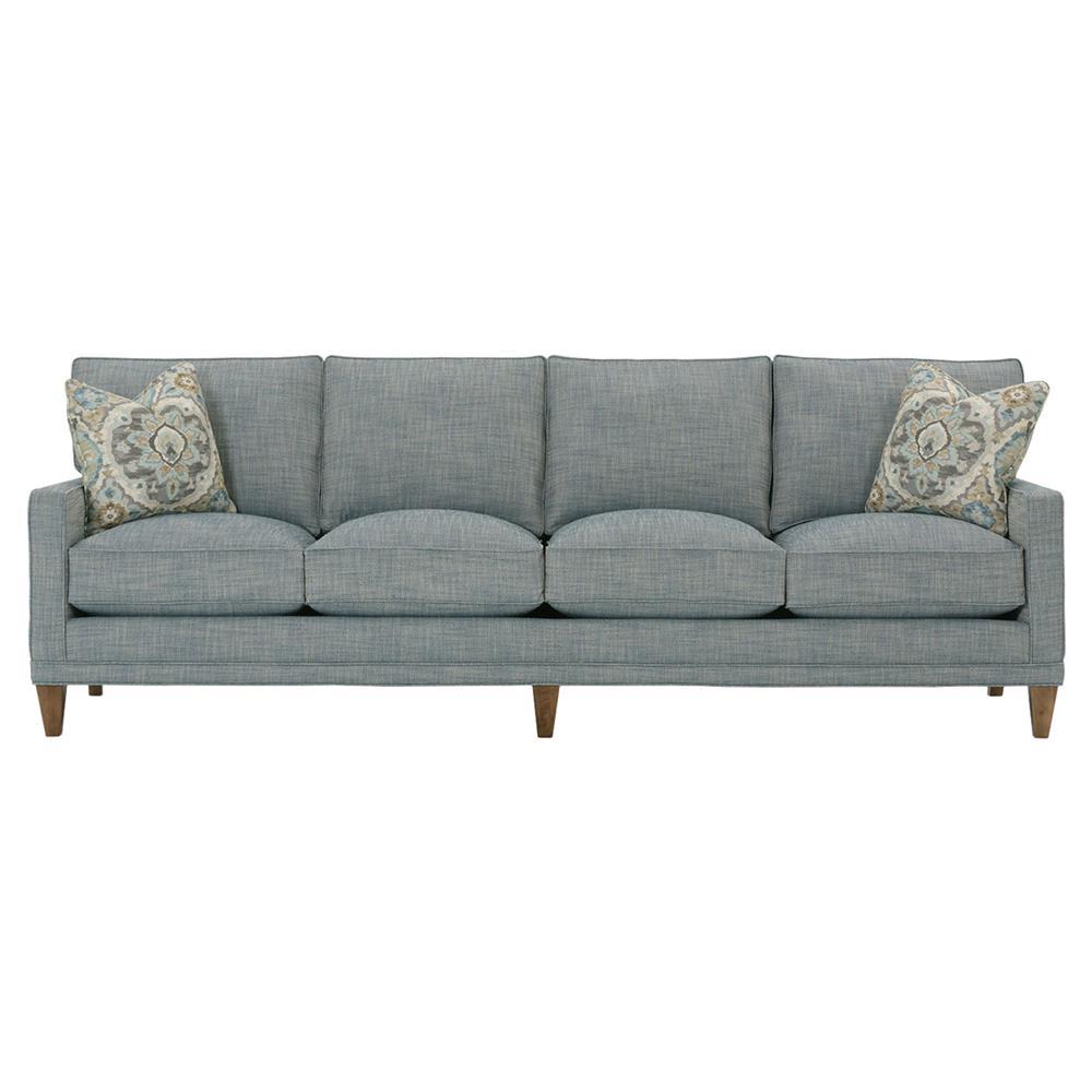 Karris Modern Classic Track Arm 4 Cushion Indigo Blue Upholstered Sofa