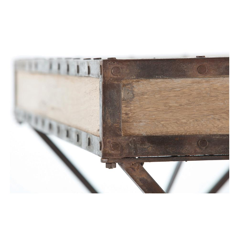Modern Rustic Reclaimed Wood Iron Rivet Campaign Desk