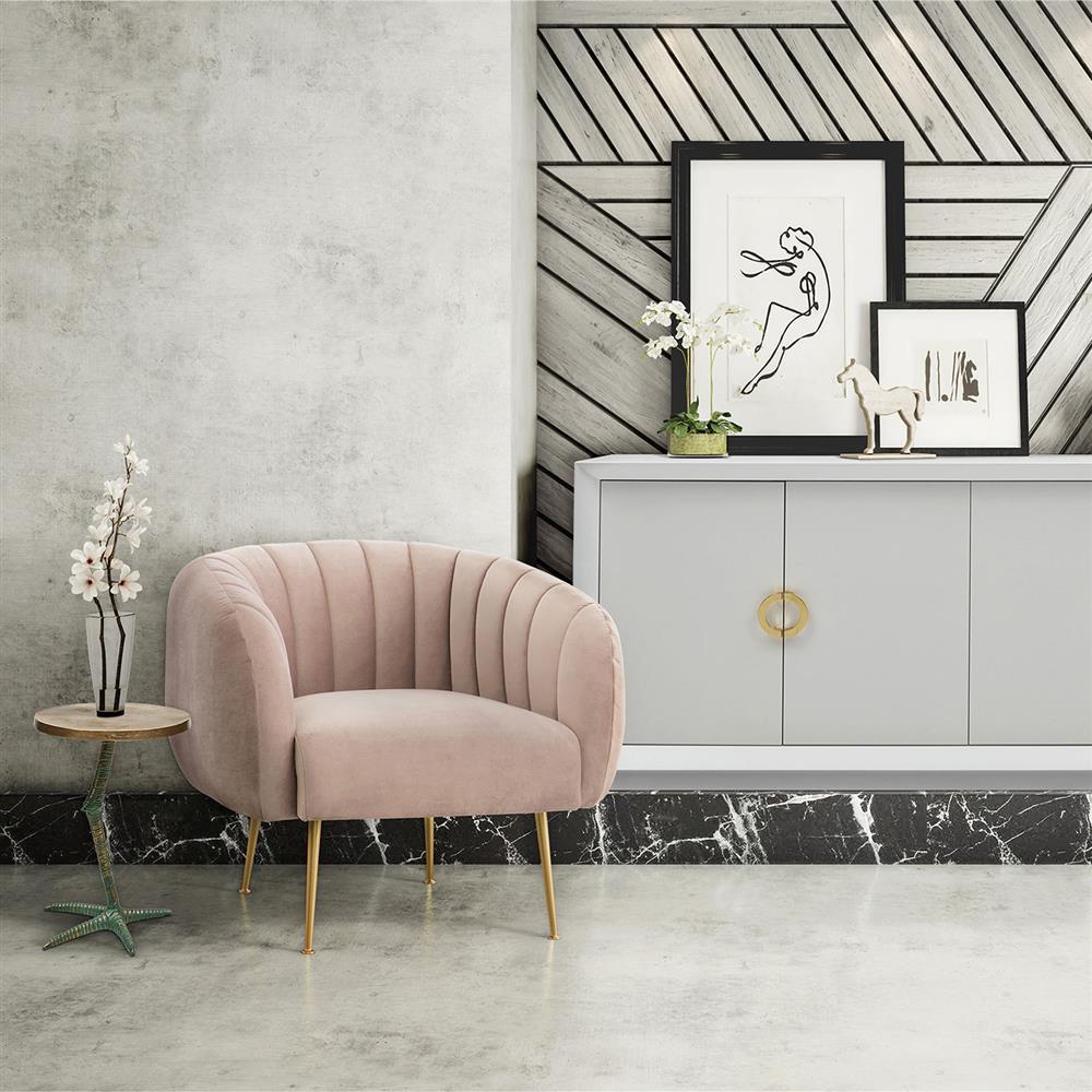 Elena modern classic upholstered velvet living room barrel chair rosa pink kathy kuo home