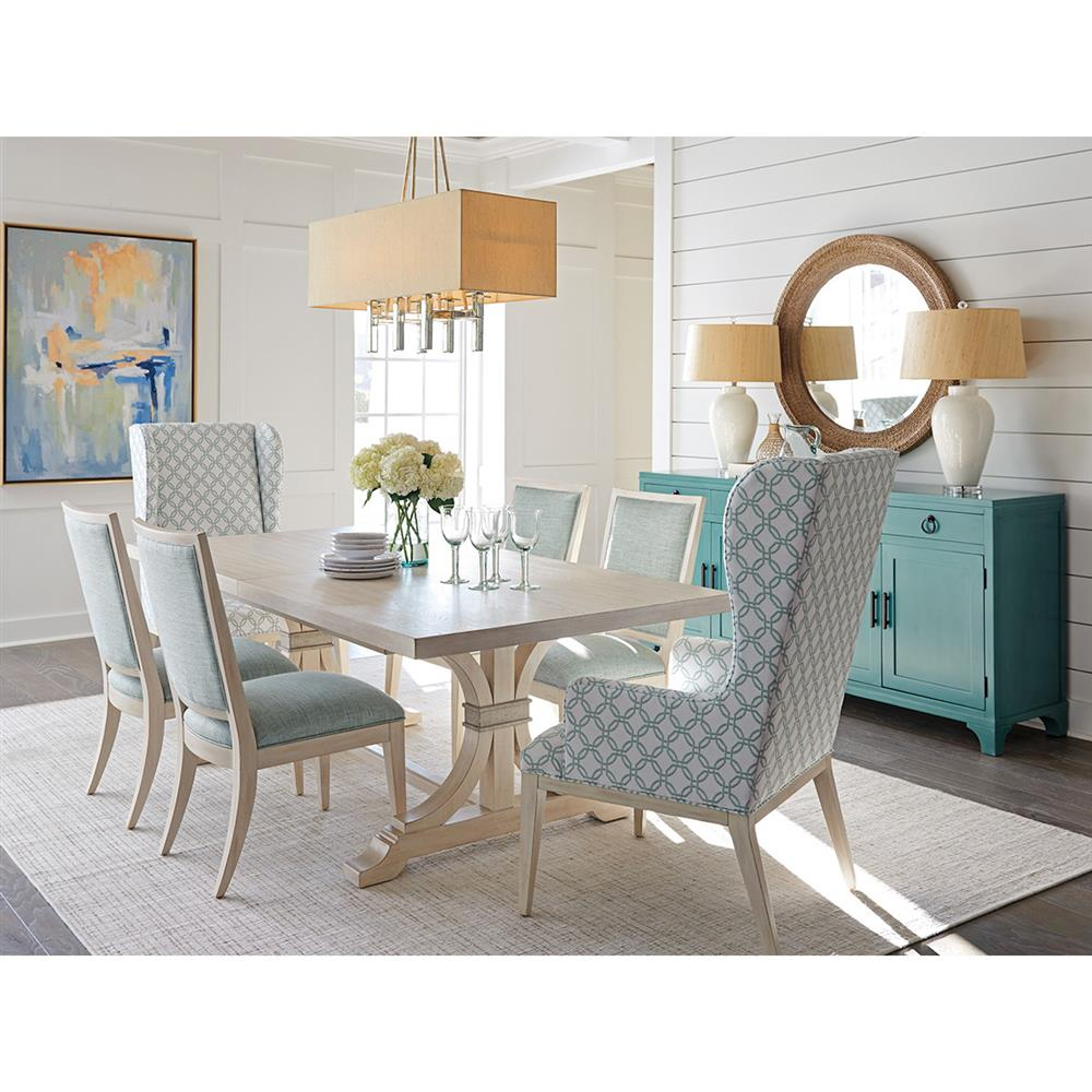White Wash Wood Dining Table: Barclay Butera Oceanfront Modern Classic Whitewash Wood