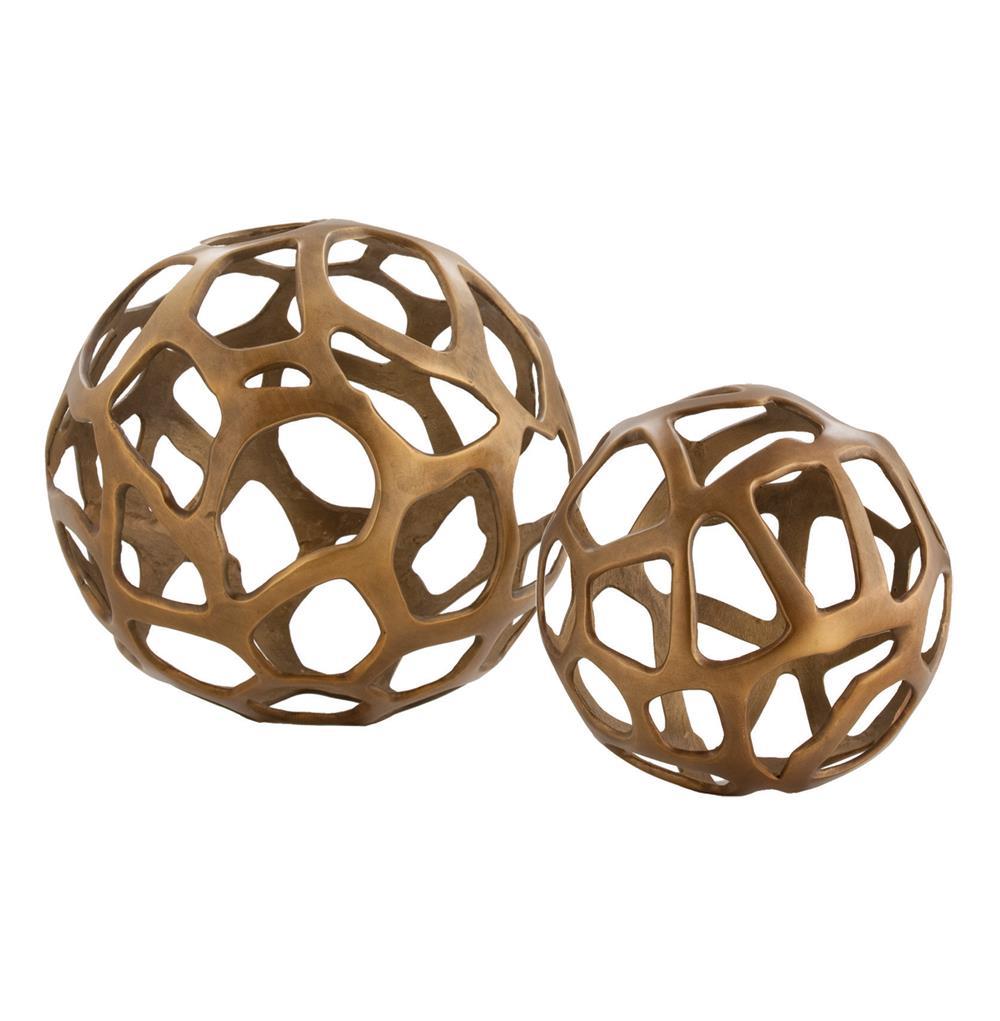 Ennis Antique Brass Web Sphere Sculpture Decor Object