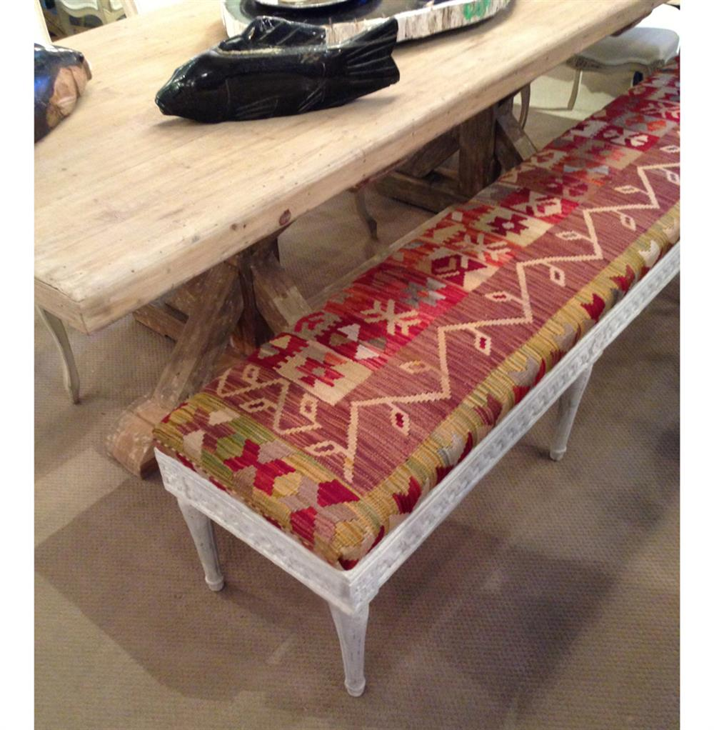 Moscow Global Bazaar Rustic Kilim White Wash Banquette Bench