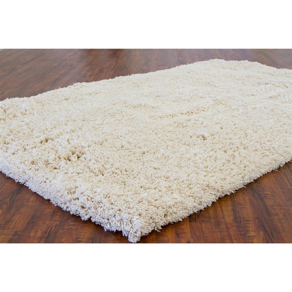Evie Modern Beige New Zealand Wool Shag Rug 5 X 7 6