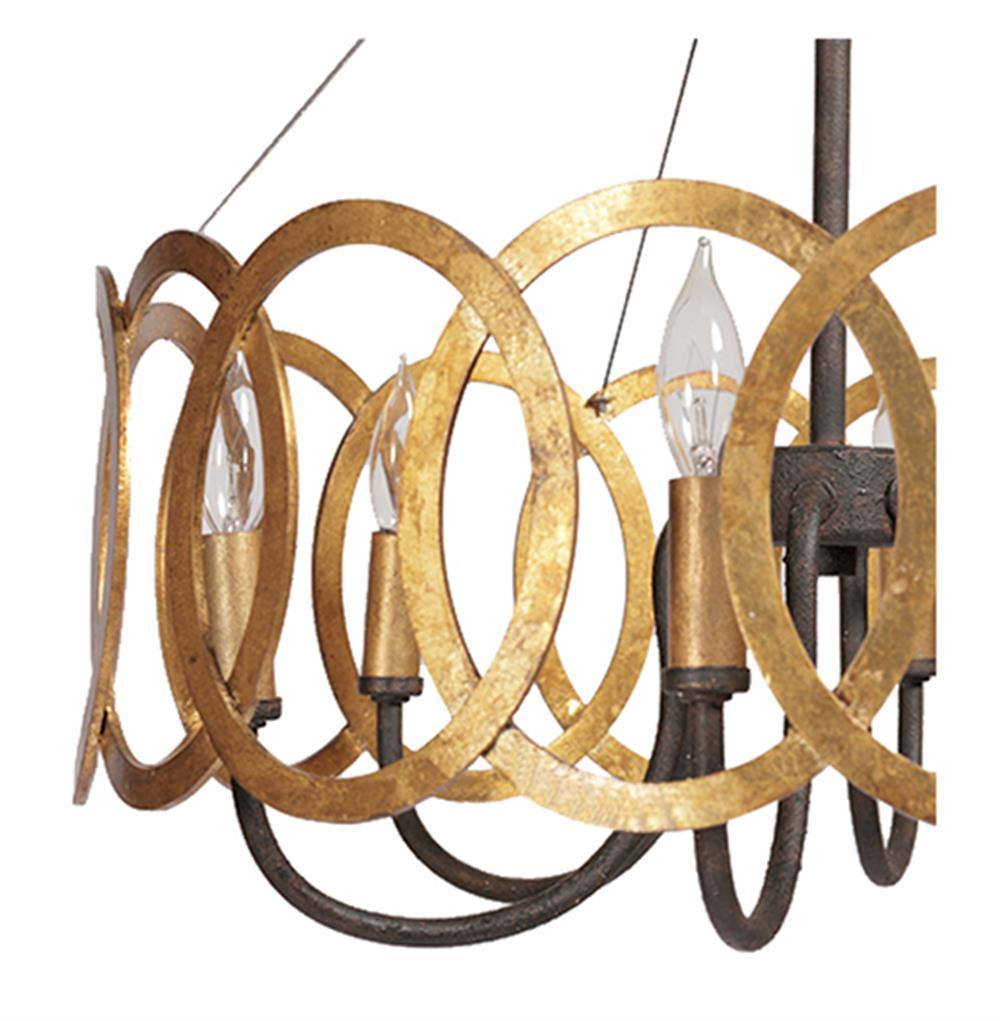 Virginia Hollywood Regency Gold Interlocking Circle Chandelier